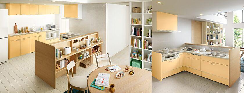 商品ラインアップキッチンシステムキッチンアレスタ施工イメージPLAN8アレスタ:オープン対面キッチン ペニンシュラL型(PLAN8)