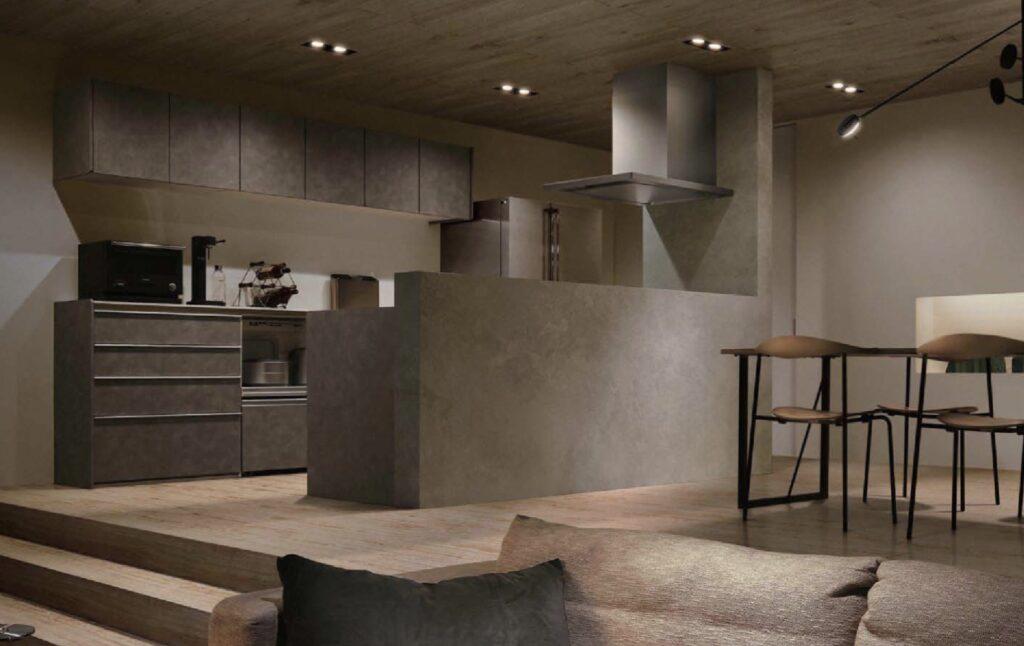 スタッコ仕上げのようなキッチンは今時の住まいにぴったり
